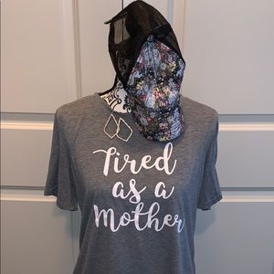 """""""Tired as a Mother"""" comfy tee in gray & white"""